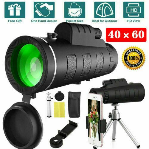 40X60 HD BAK4 Monocular Telescope+Phone Clip Tripod Night Vision Outdoor Hiking