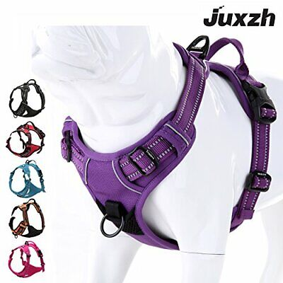 juxzh Soft Front Dog Harness .Best Reflective No Pull Harness with Handle and