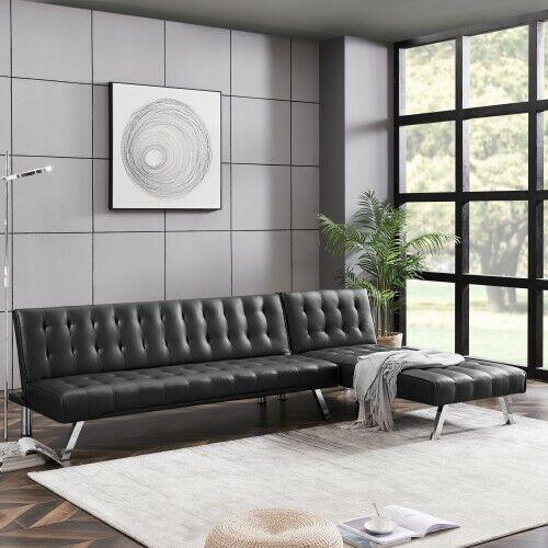 Living Room Furniture Black PU Reversible Sectional Sofa Set Modern 2Pc Set