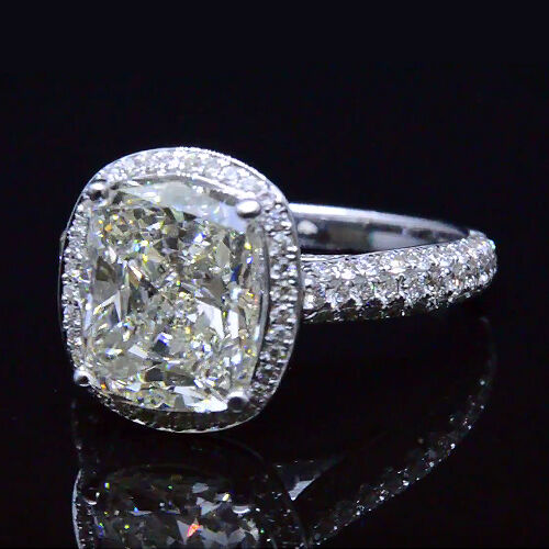 18K White Gold Halo 3.23 Ct Cushion Cut Diamond Engagement Ring  H,VS2 GIA