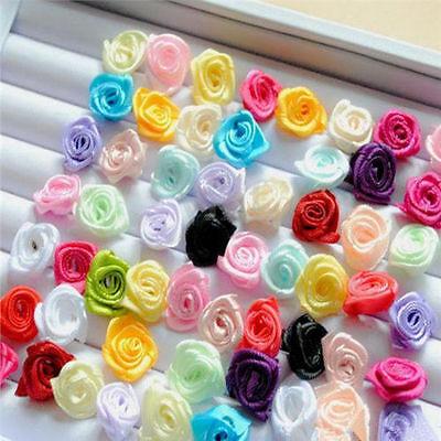 100pcs Small Mini Satin Ribbon Flowers Rose Wedding Decor Sewing Appliques DIY ~
