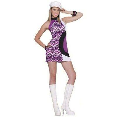 60's Gogo Dress Purple/Blk/Wht Zig Zag Print Sleeveless Costume Mini Dress OS (Gogo Dress Costume)