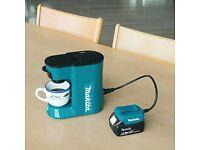 Makita Coffee machine DCM 500Z Li-Ion 18vlt 110v UK site & battery operated 2018
