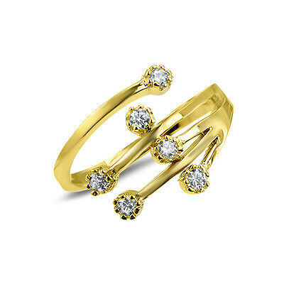10KT Solid Stamped Yellow Gold Adjustable Toe Ring with Clear Cubic Zirconia CZ