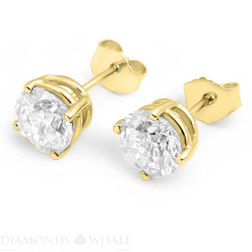 18k Yellow Gold Round Stud Diamond Earrings 2.08 Ct Vs1/e Wedding Enhanced
