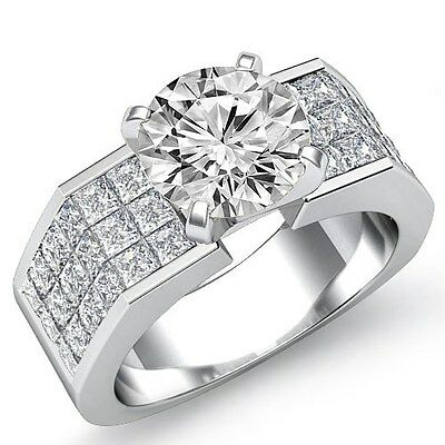 3.04ct Round Brilliant Diamond Engagement Ring GIA F Color VS2 14k White Gold