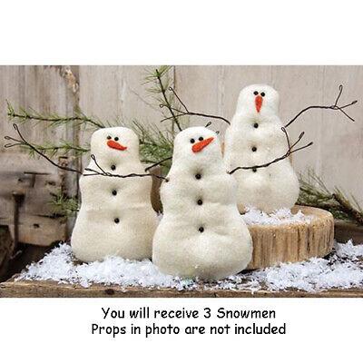 3 pc Set - Primitive Tea Stained SNOWMEN / Snowman - Chistmas/Winter