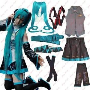 Vocaloid-Miku-Hatsune-Cosplay-Costume-wig-Blouse-Skirt-Sleeve-Rope-Stocking