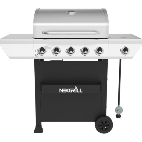 5Burner Propane Gas Grill in Stainless Steel with Side Burner and Condiment Rack