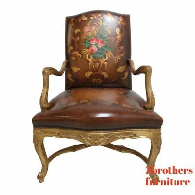 (Old Hickory Tannery Leather Living Room Arm Lounge Chair Gold Gilt Hand Painted )