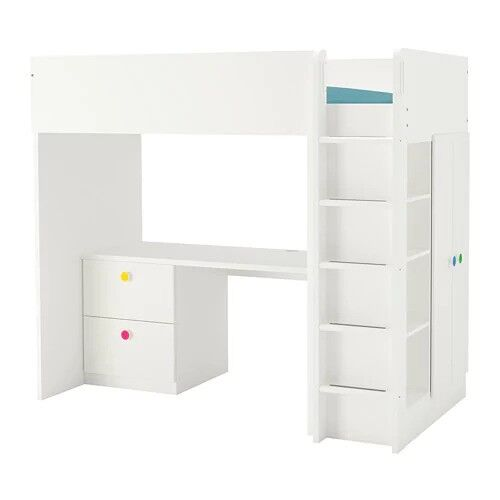Ikea White Single Bunk Bed With Desk Wardrobe Open Shelf Unit And Drawers
