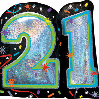 21st Happy Birthday Foil Anagram Balloon Streamers Silver 27