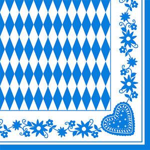 100 Servietten 3lagig 1/4-Falz 40cm Bayrisch Blau Raute Bayern Oktoberfest Wiesn