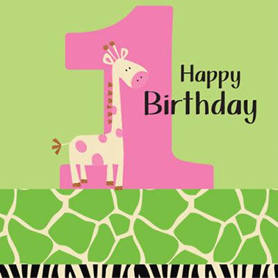 1st BIRTHDAY Wild at One LUNCH NAPKINS (16) ~ Birthday Party Supplies Giraffe