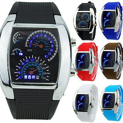 Mens Casual Popular RPM Turbo Blue Flash Led Sports Car Meter Dial Wrist Watch