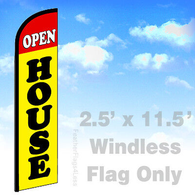 Open House - Windless Swooper Flag Feather Banner Sign 2.5x11.5 - Yf