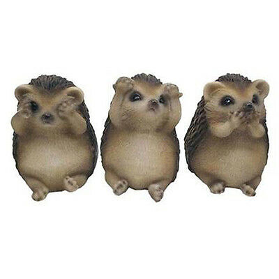 Outdoor Garden Ornaments 3 Wise Hedgehog Set see hear speak no evil