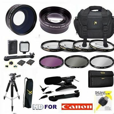 58MM PRO HD ACCESSORIES KIT LENSES TRIPOD LIGHT FILTERS  FOR CANON VIXIA HF G20