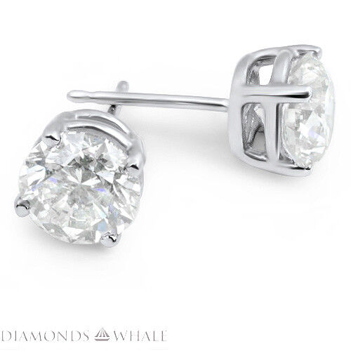 0.6 CT Round Cut SI1/D Stud Diamond Earrings 18K White Gold Engagement, Enhanced