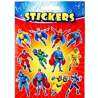 6 Super Hero Sticker Sheets - Pinata Toy Loot/Party Bag Fillers Wedding/Kids