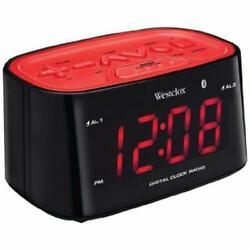 Westclox 1.2 Bluetooth Digital Tune FM Dual Alarm Clock Radio USB Charging Port