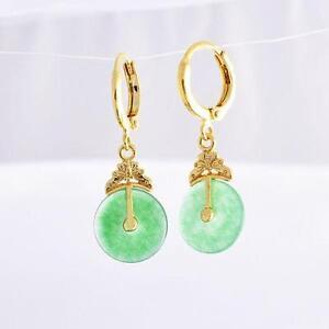Gold Green Jade Earrings