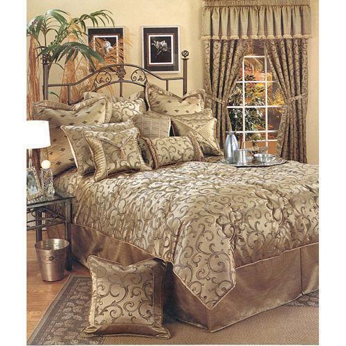 gold king size comforter ebay. Black Bedroom Furniture Sets. Home Design Ideas