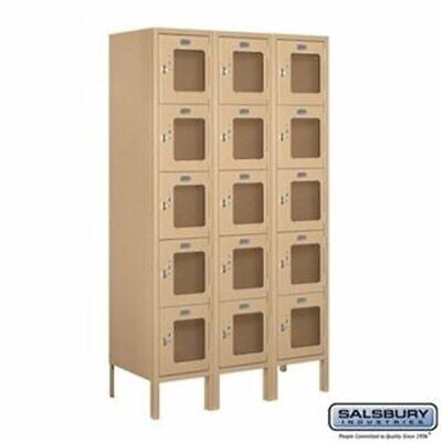 Salsbury 12 Wide Five Tier Box Style See-through Metal Locker - 3 Wide - 5 Feet