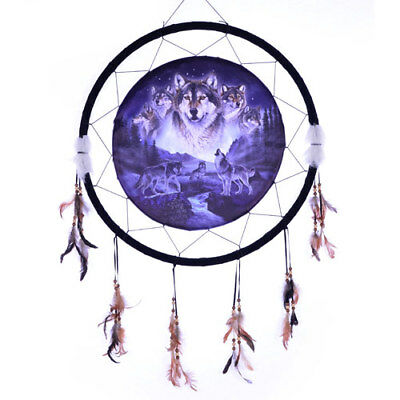 "Giant 26"" Moon 5 Wolf Collage Night Mountain Scene Dream Catcher Feathers 2657"