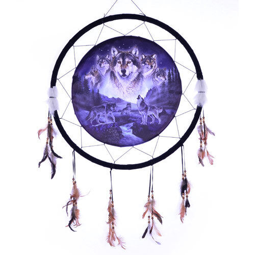 """Giant 26"""" Moon 5 Wolf Collage Night Mountain Scene Dream Catcher Feathers 2657"""