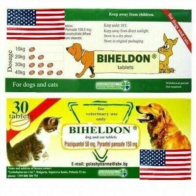 30 Tabs Dog Cat Wormer Broad Spectrum Dewormer Woming USA SELLER!!! EXP 01/2023