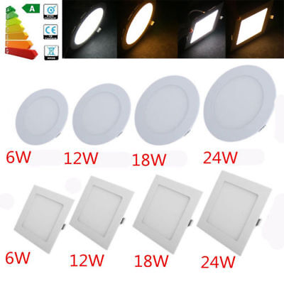 - 6/12/18/24W LED Recessed Ceiling Flat Panel Down Light Ultra Slim Round & Square