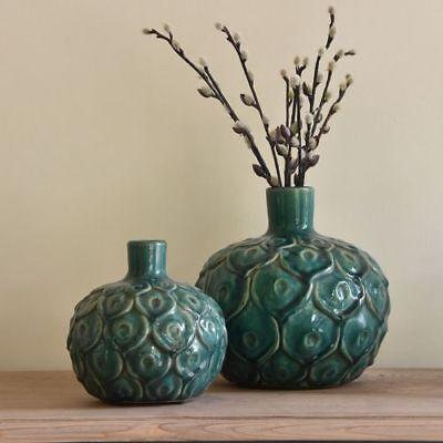 1 Green Peacock Stem Vase, Short Ceramic Bulb Bottle 15cm, Mid Century Modern