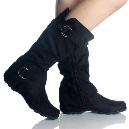 Suede Flat Slouch Black Boots Ebay
