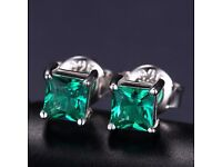 NEW Women's Dainty Square Natural Created Green Nano Emerald 925 Sterling Silver Stud Earrings