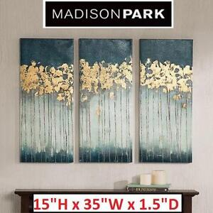"""NEW 3PC MADISON PARK WALL ART SET - 109329314 - MIDNIGHT FOREST GEL COAT CANVAS W/ GOLD FOIL EMBELLISHMENT - 15""""H x 3..."""