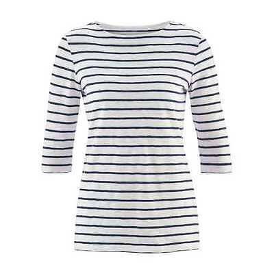 Ärmel Bio-baumwolle Shirt (LIVING CRAFTS Shirt 3/4-Ärmel Streifen Weiß Blau Bio Baumwolle GOTS Fair Vegan)