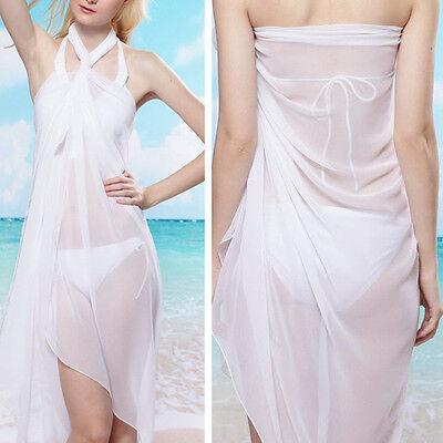 White Solid Color Sheer Pareo Dress Sarong Beach Bikini Swim Cover Up Scarf Wrap