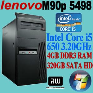LENOVO M90P ThinkCentre 5498 Core i5-650 3.20GHz 4GB 320GB WIN-7 Nunawading Whitehorse Area Preview