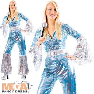Waterloo Blue 1970s Ladies Fancy Dress Dancing Queen 70s Funk Adults Costume ](Funk Dance Costumes)