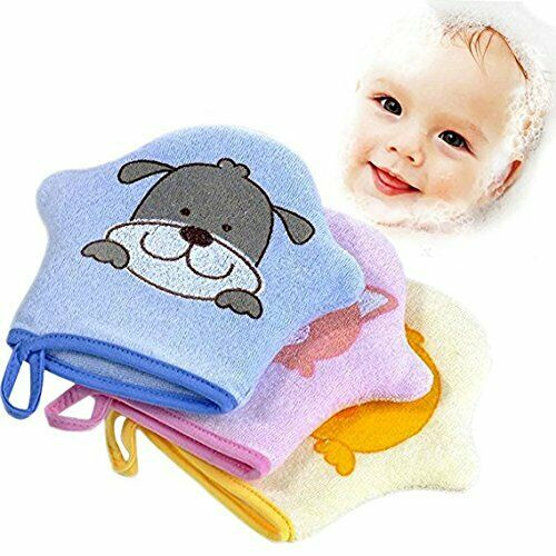 Baby Bath Glove 3 Pcs Cute Animal Shower Brush Cotton Towel Cloth Bath Wash Mitt Bath & Body