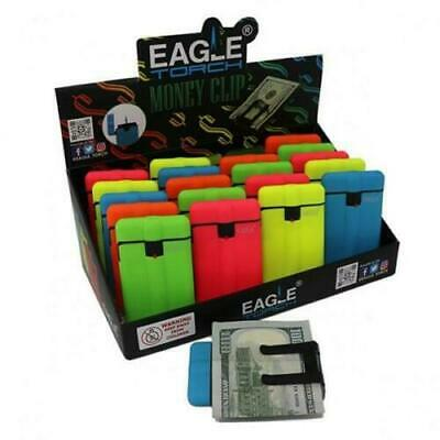 3 x Eagle  Flame Slim Torch Lighters 3 pack Windproof w/Money Clip fluorescent