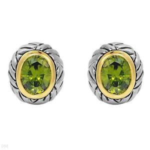 BRAND NEW EARRINGS MODERATE GREEN CREATED DIAMOND CRAFTED IN ST