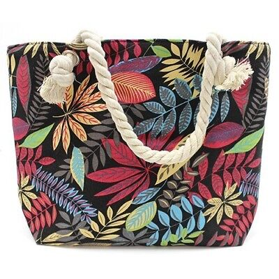 DISCOUNTED 33% - Large canvas retro flower tote bag with rope handles.](Discount Tote Bags)