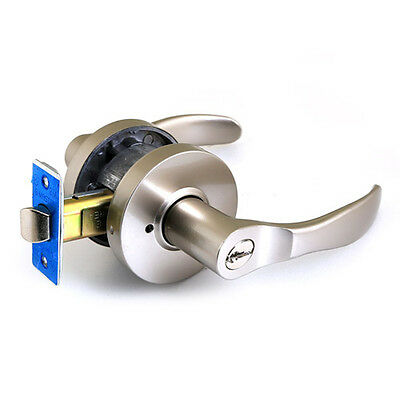 Zinc Alloyed Grey Silver Lever Door Handle Knob Iron-made with Key Lock on NEW ()