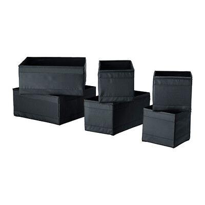 Großen Schwarzen Aufbewahrungsbox (IKEA SKUBB 6er Set Aufbewahrungsboxen Fächer 2x3 Größen Ordnungssystem SCHWARZ)