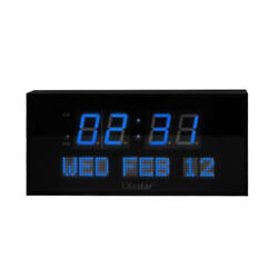 Diastar Oversized Digital LED Clock with Day & Date-Shelf or Wall Mount in Blue