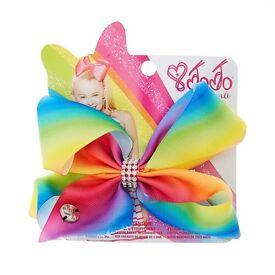 Jojo siwa girls rainbow signature diamanté hair bow