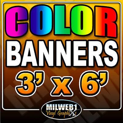 3x 6 Custom Vinyl Banner 13oz Full Color 36x72