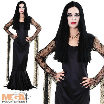 Morticia Addams Family Ladies Fancy Dress Halloween TV Show Adults Costume New - Tv Shows Halloween Costumes